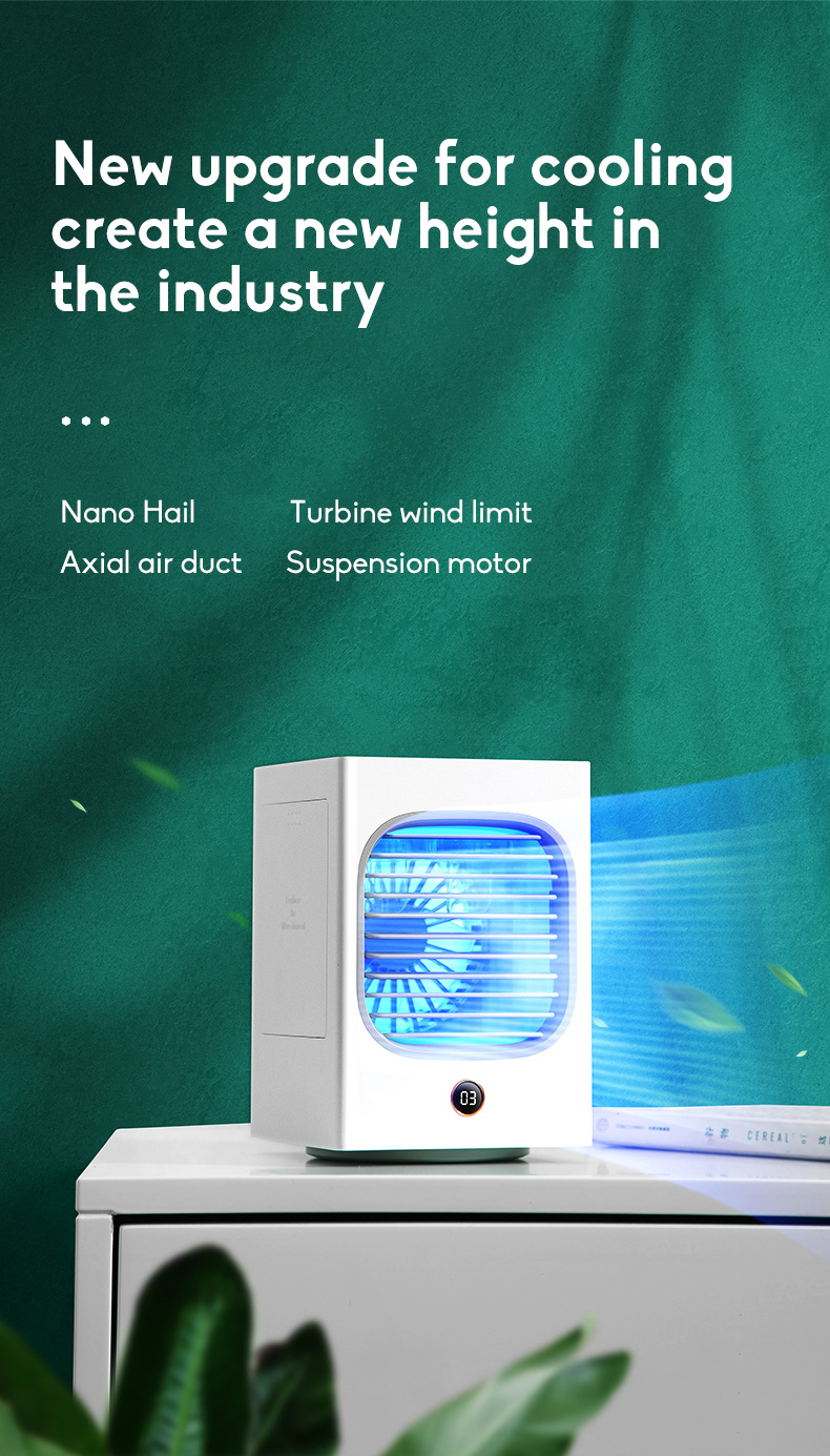 Automatic Shaking Head Rechargeable Mini Air Conditioner Small Electric Fan Miniature Refrigeration Artifact Portable Suitable For Student Dormitory 0