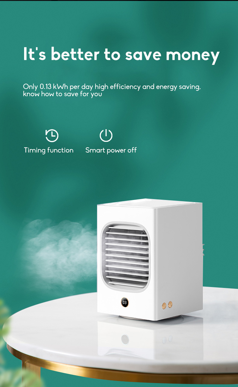 Automatic Shaking Head Rechargeable Mini Air Conditioner Small Electric Fan Miniature Refrigeration Artifact Portable Suitable For Student Dormitory 11