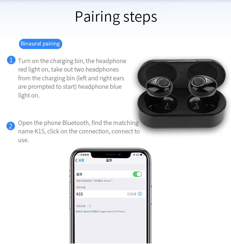 New Touch K12 Wireless Binaural 5.0 Sports Mini In-ear Noise Reduction Bluetooth Headset 21