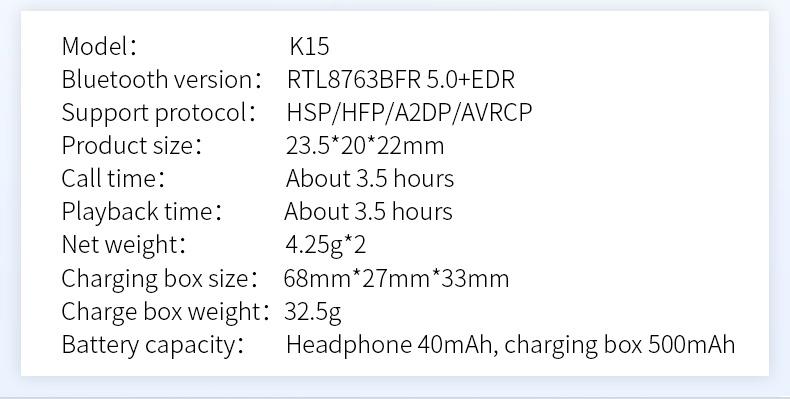 New Touch K12 Wireless Binaural 5.0 Sports Mini In-ear Noise Reduction Bluetooth Headset 20