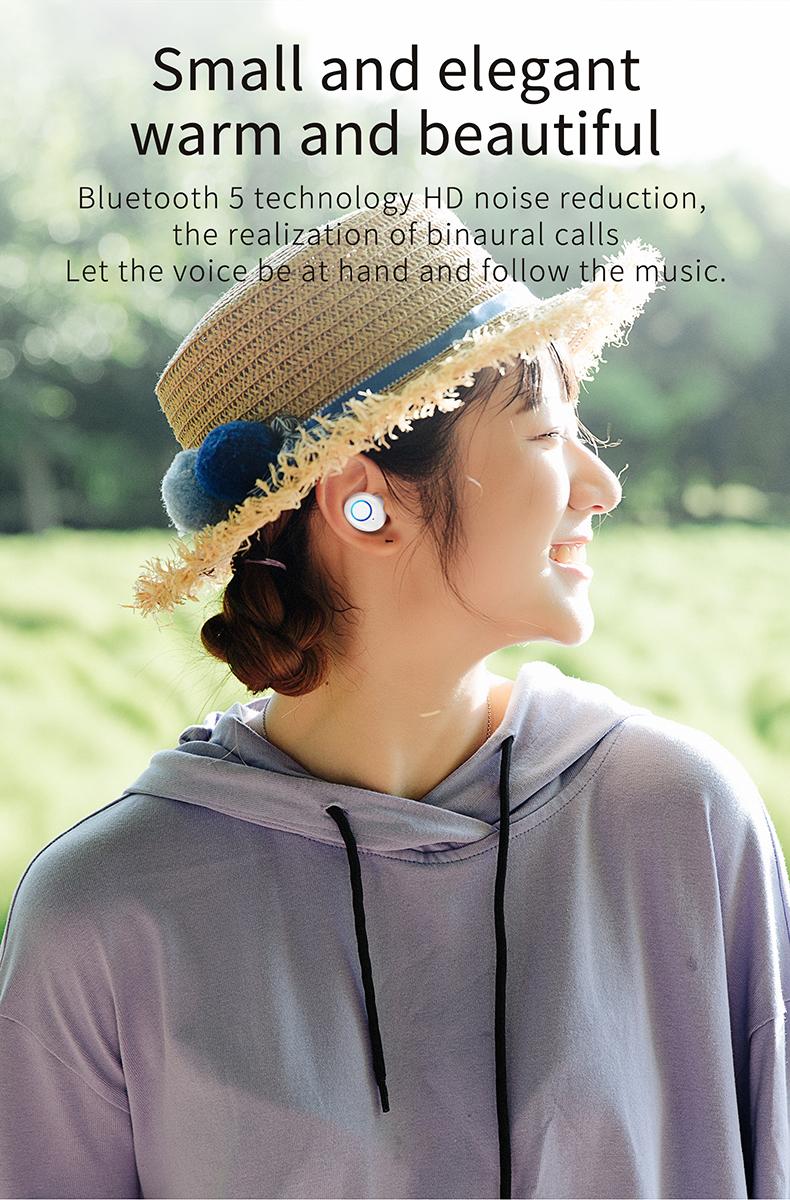 TWS-K10 Binaural Wireless Bluetooth Headset V5.0 Mini In-ear Noise Canceling Sports Headset 6