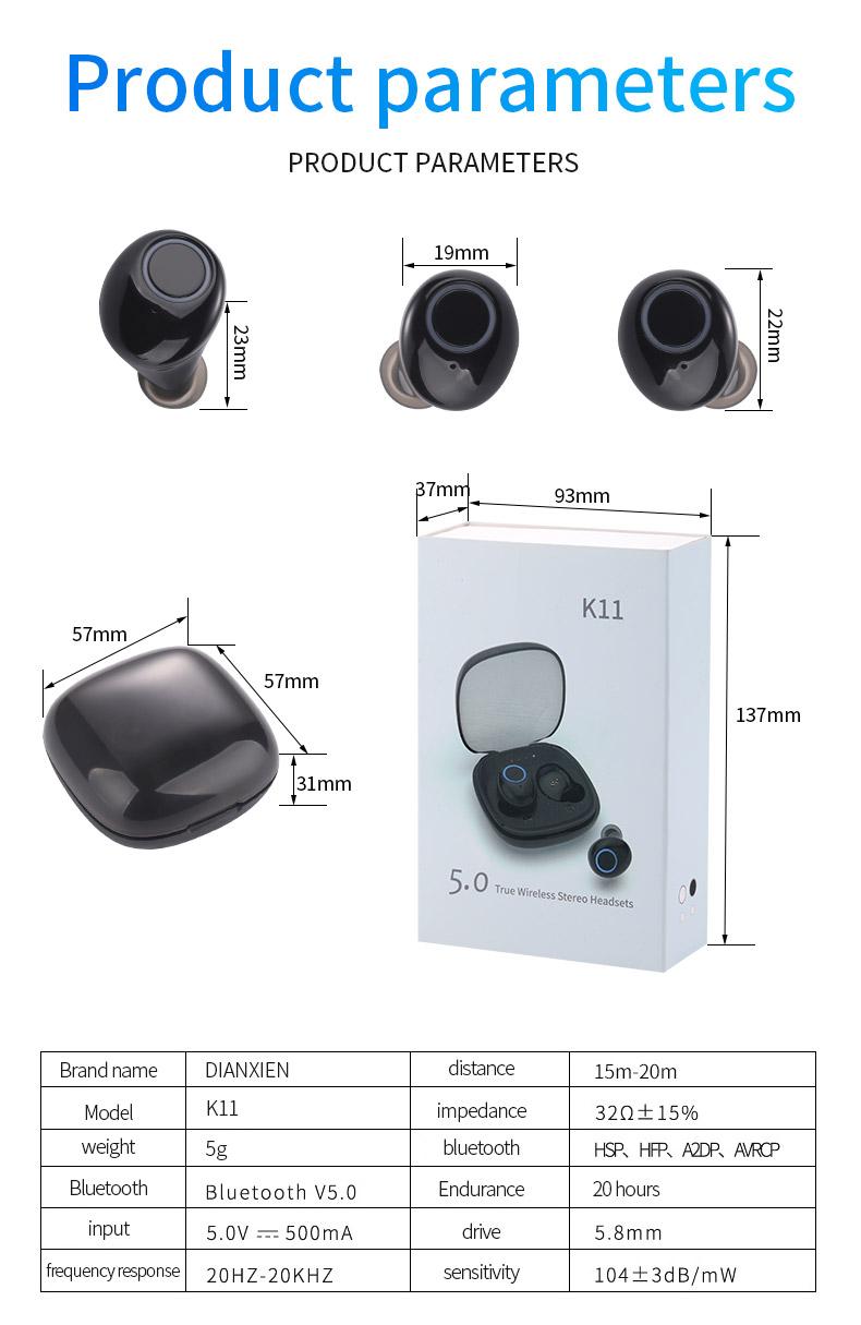 2020 New 5.0 Waterproof Bluetooth Headset TWS Wireless Automatic Power-on Dual Call Tws Headset 12