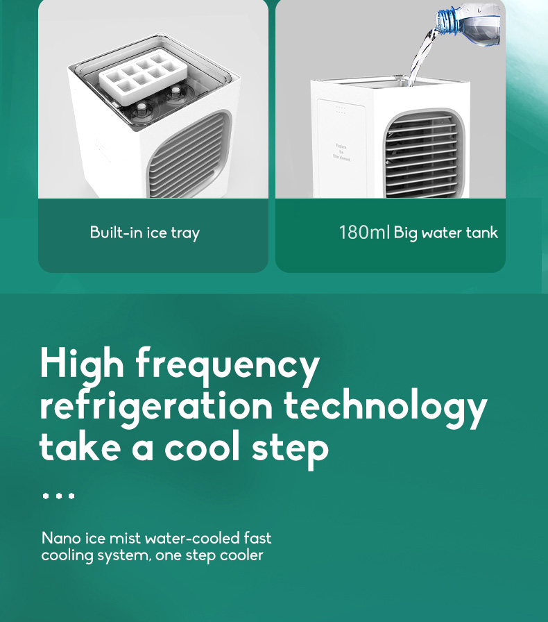 Automatic Shaking Head Rechargeable Mini Air Conditioner Small Electric Fan Miniature Refrigeration Artifact Portable Suitable For Student Dormitory 3