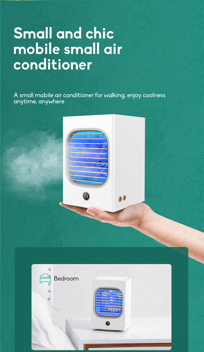 Automatic Shaking Head Rechargeable Mini Air Conditioner Small Electric Fan Miniature Refrigeration Artifact Portable Suitable For Student Dormitory 12