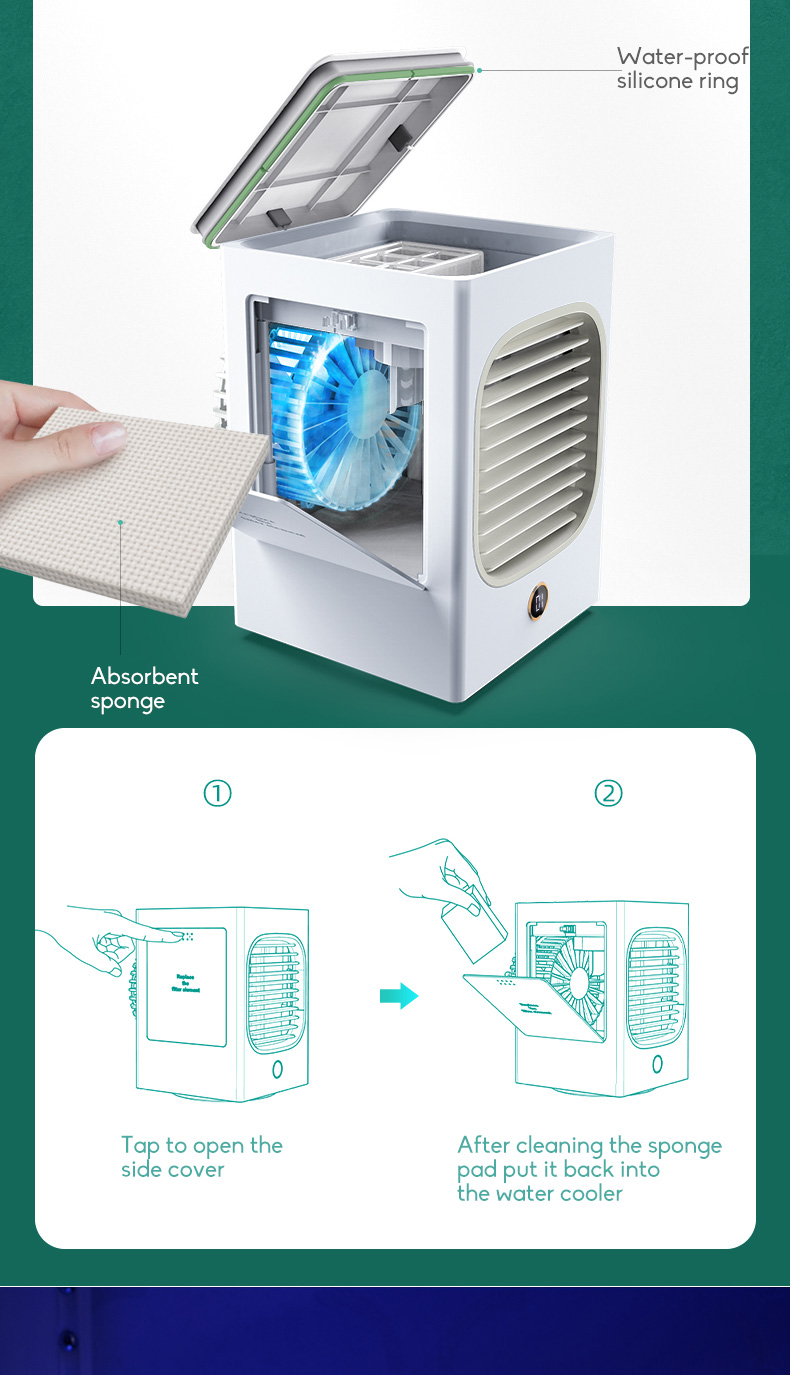 Automatic Shaking Head Rechargeable Mini Air Conditioner Small Electric Fan Miniature Refrigeration Artifact Portable Suitable For Student Dormitory 8