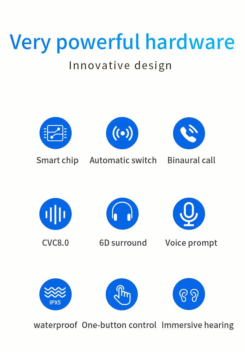2020 New 5.0 Waterproof Bluetooth Headset TWS Wireless Automatic Power-on Dual Call Tws Headset 2