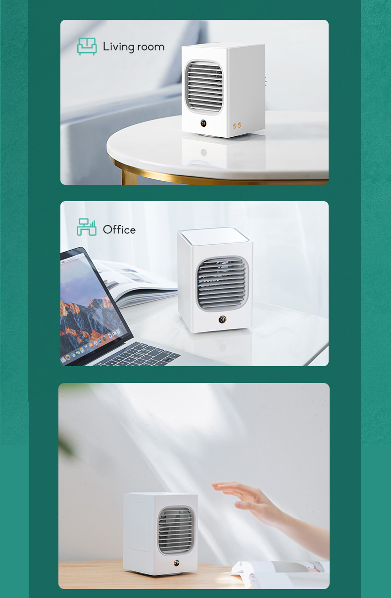 Automatic Shaking Head Rechargeable Mini Air Conditioner Small Electric Fan Miniature Refrigeration Artifact Portable Suitable For Student Dormitory 13