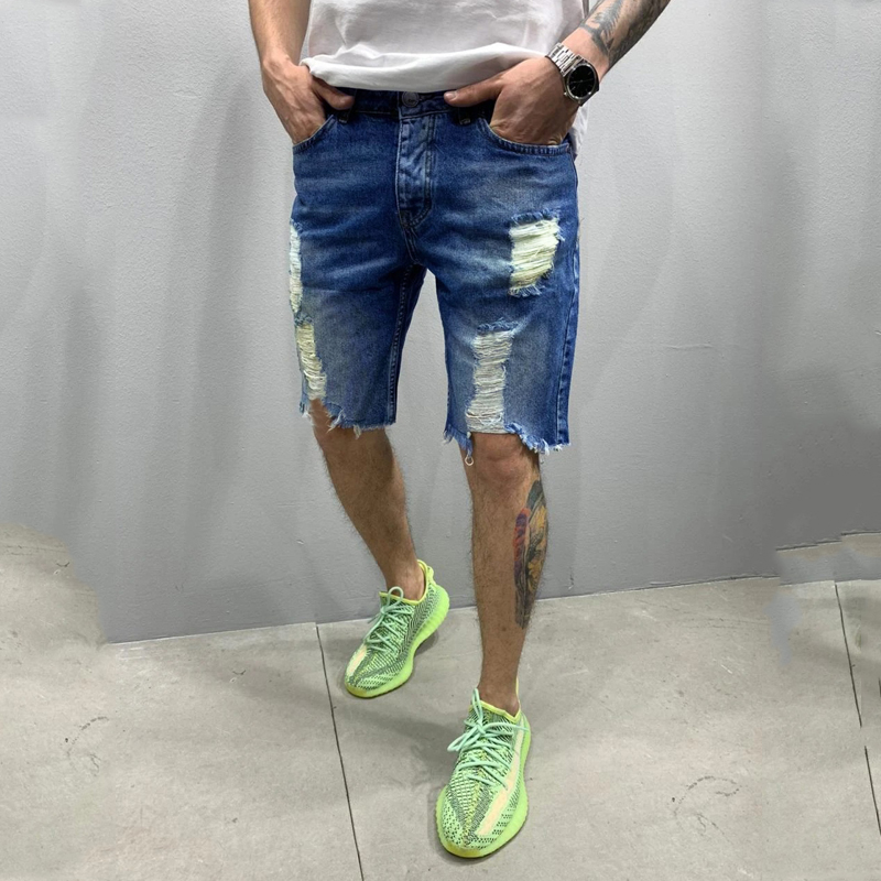 2020 Summer New Fashion Trend Street Style European And American Style Tattered Denim Shorts For men 1