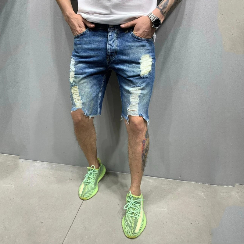 2020 Summer New Fashion Trend Street Style European And American Style Tattered Denim Shorts For men 4