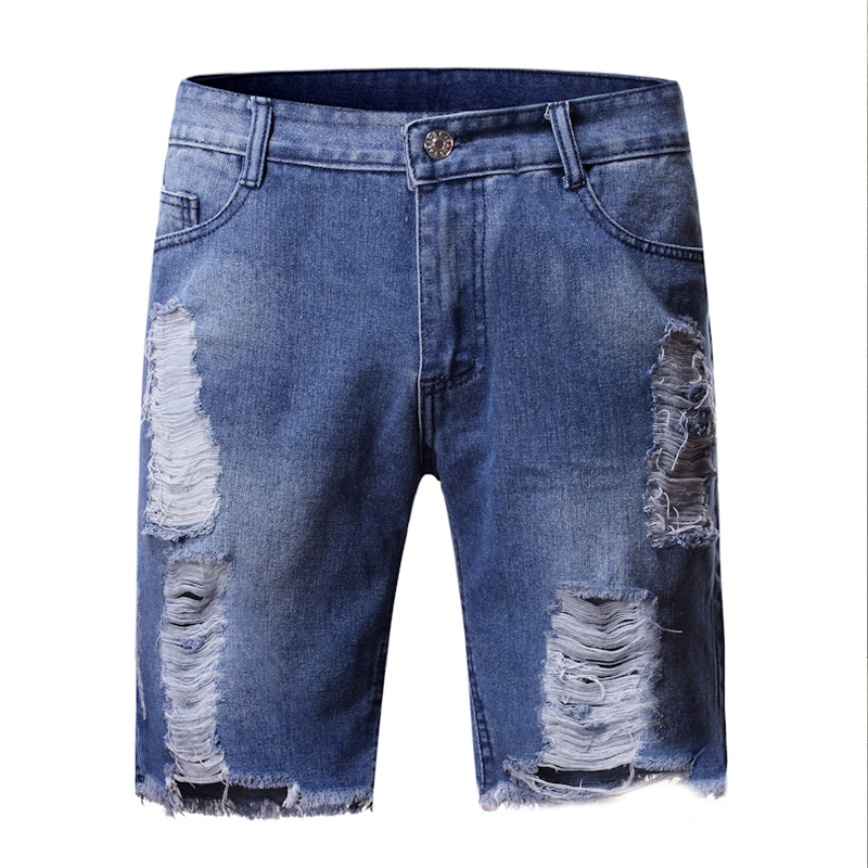 2020 Summer New Fashion Trend Street Style European And American Style Tattered Denim Shorts For men 2