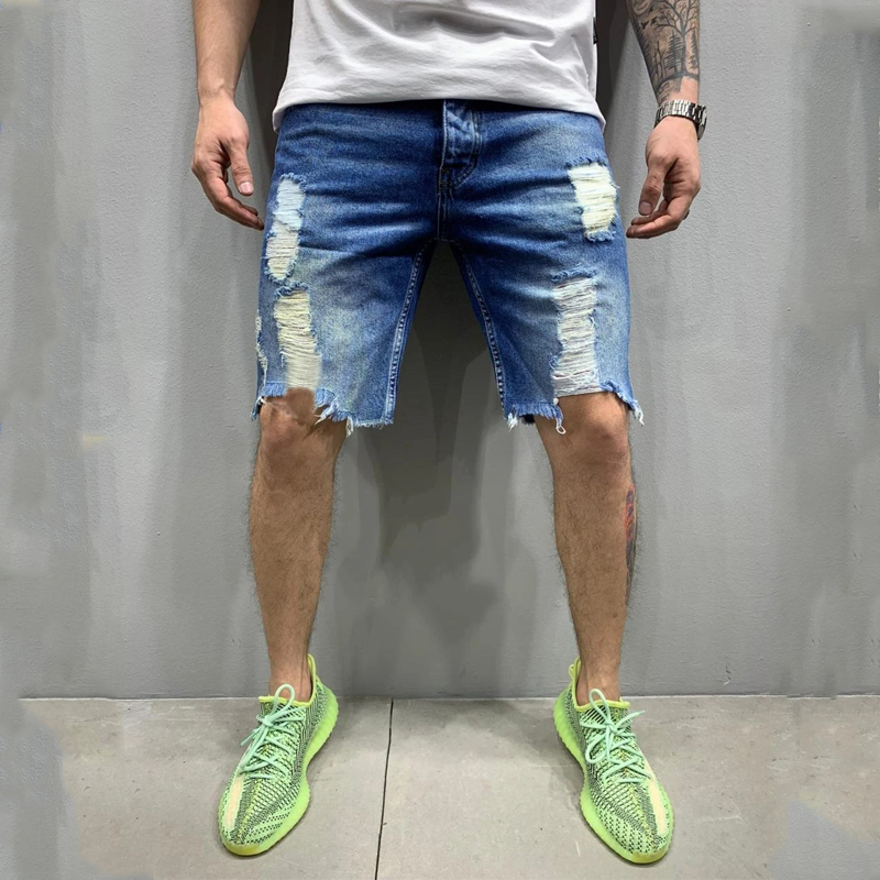 2020 Summer New Fashion Trend Street Style European And American Style Tattered Denim Shorts For men 0