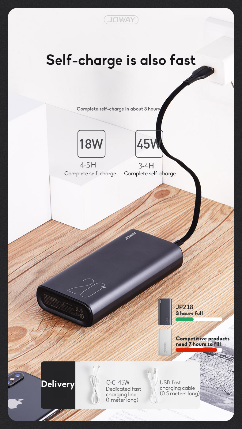 PD45W 20000mAh Wireless Power Bank Power Bank Polymer Battery Cell Ultra-thin Fast Charging For Outdoor Use 7