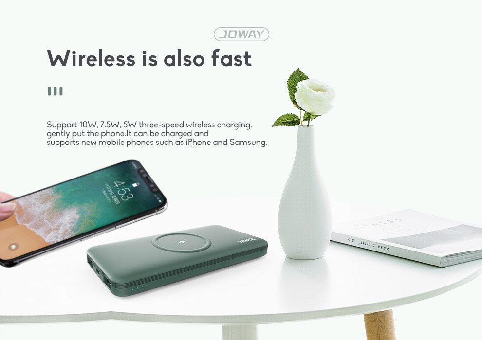 10000mAh Fast Charging Wireless Charging Power Bank Ultra-thin With Large Capacity 5