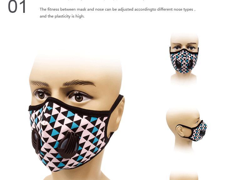 GLORSUN Fashion Sports Mask Washable Cotton Cloth Double Breathing Valve Protective Dust Mask 0