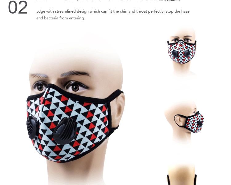 GLORSUN Fashion Sports Mask Washable Cotton Cloth Double Breathing Valve Protective Dust Mask 1