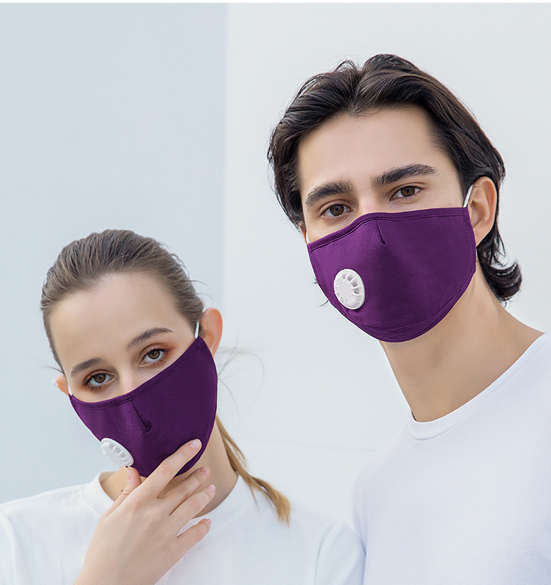 Anti-fog PM2.5 Filter Cotton Cloth Mask Washable Adult Stereo Mask with Breathing Valve 1