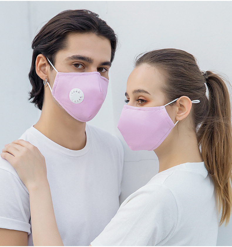 Anti-fog PM2.5 Filter Cotton Cloth Mask Washable Adult Stereo Mask with Breathing Valve 2