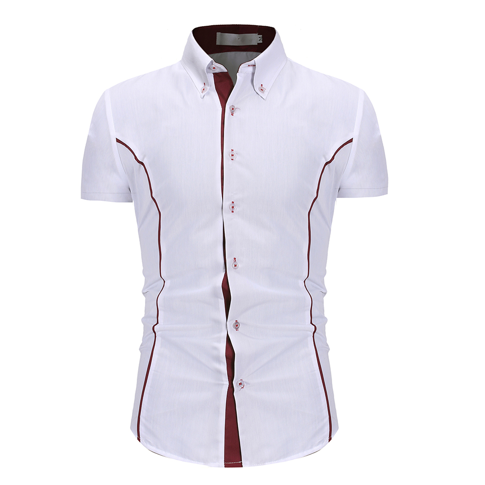 2020 Summer Assault Wind Men's Self-cultivation Tailored Personality Trim Men's Fashion Casual Short-sleeved Shirt 1