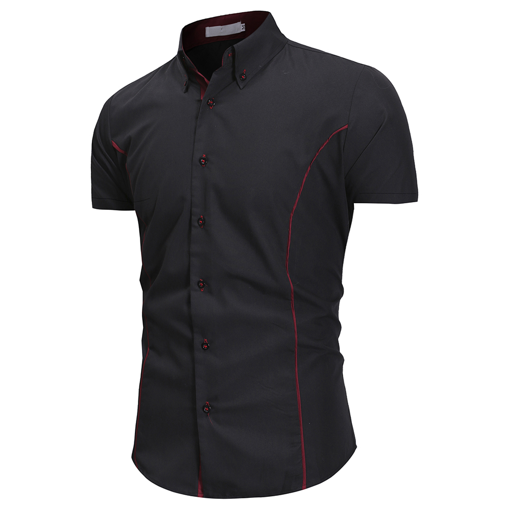 2020 Summer Assault Wind Men's Self-cultivation Tailored Personality Trim Men's Fashion Casual Short-sleeved Shirt 3