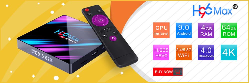 2020 New H96 MAX RK3318 Smart TV Box 4/32GB 3D 4K Android 9.0 Media Streamer 2.4G/5G Dual Band WiFi USB3.0 0