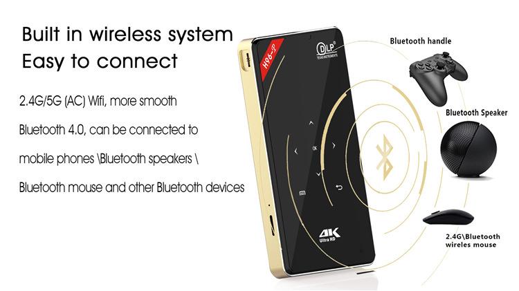 H96-P Mini DLP 4K Keystone Correction Smart Micro Projector Android Pocket Projector  1