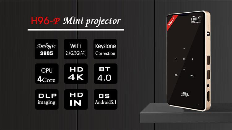 H96-P Mini DLP 4K Keystone Correction Smart Micro Projector Android Pocket Projector  0