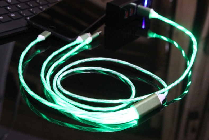 One-to-three Streamer Data Cable Huawei Apple Type-c Charging Cable Colorful Marquee Light Fast Charging 3