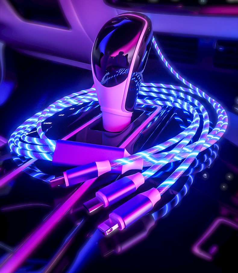 One-to-three Streamer Data Cable Huawei Apple Type-c Charging Cable Colorful Marquee Light Fast Charging 1