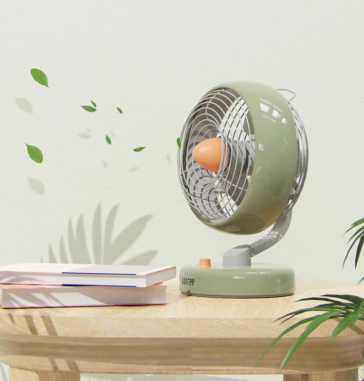 LOFREE Electric Fan Small Office Desktop USB Shaking Head Charging Silent Air Circulation Fan 3
