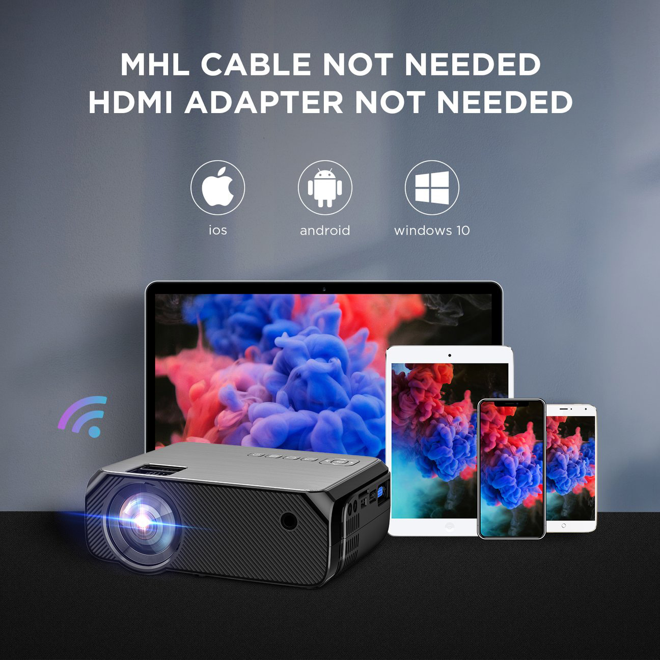 Hibeamer GC555 Mobile Phone Wireless Same Screen Home LED Projector HD 1080P Projector 4