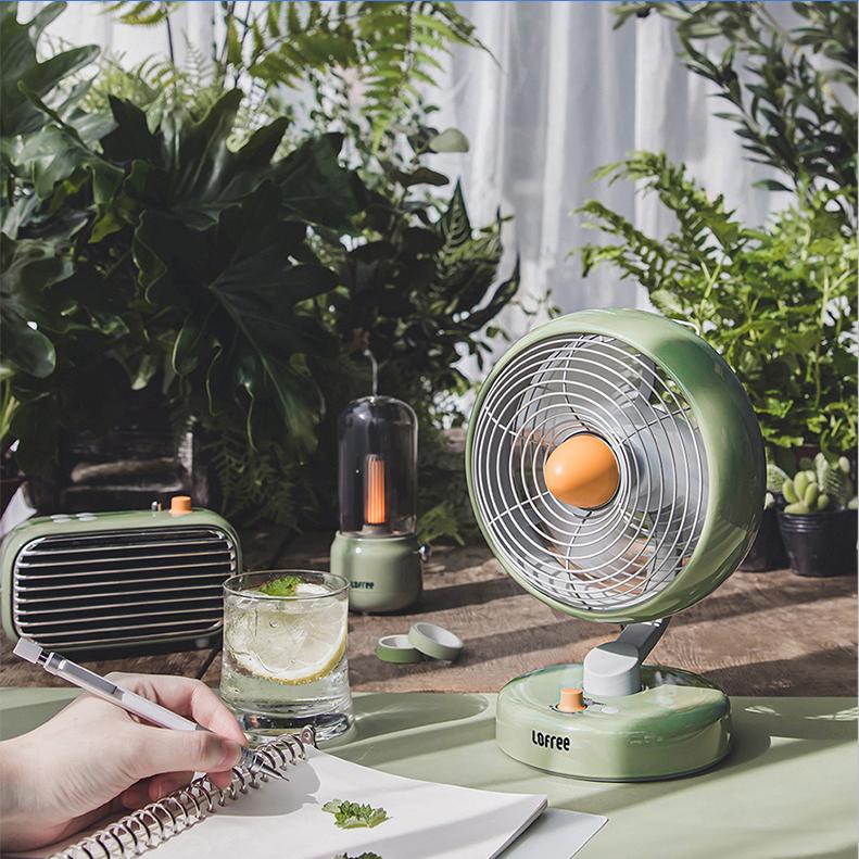 LOFREE Electric Fan Small Office Desktop USB Shaking Head Charging Silent Air Circulation Fan 0
