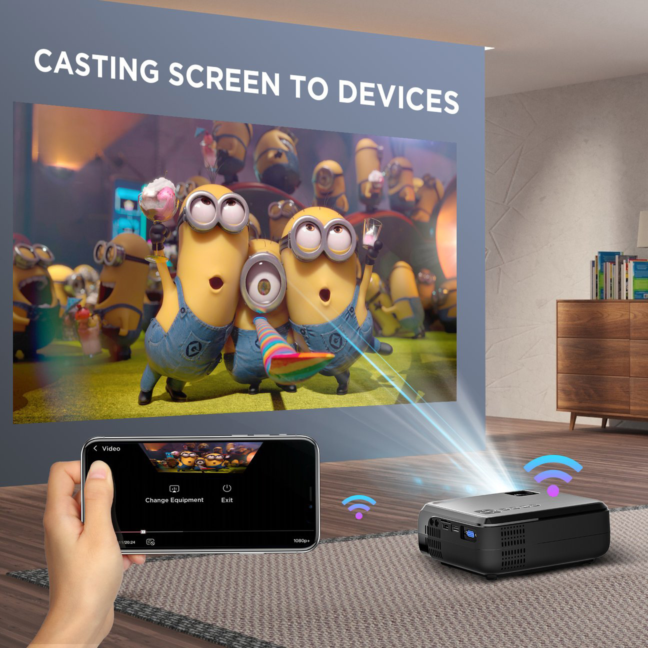 Hibeamer GC555 Mobile Phone Wireless Same Screen Home LED Projector HD 1080P Projector 11