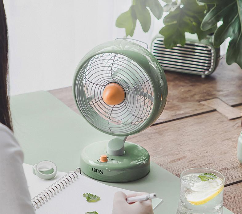 LOFREE Electric Fan Small Office Desktop USB Shaking Head Charging Silent Air Circulation Fan 2