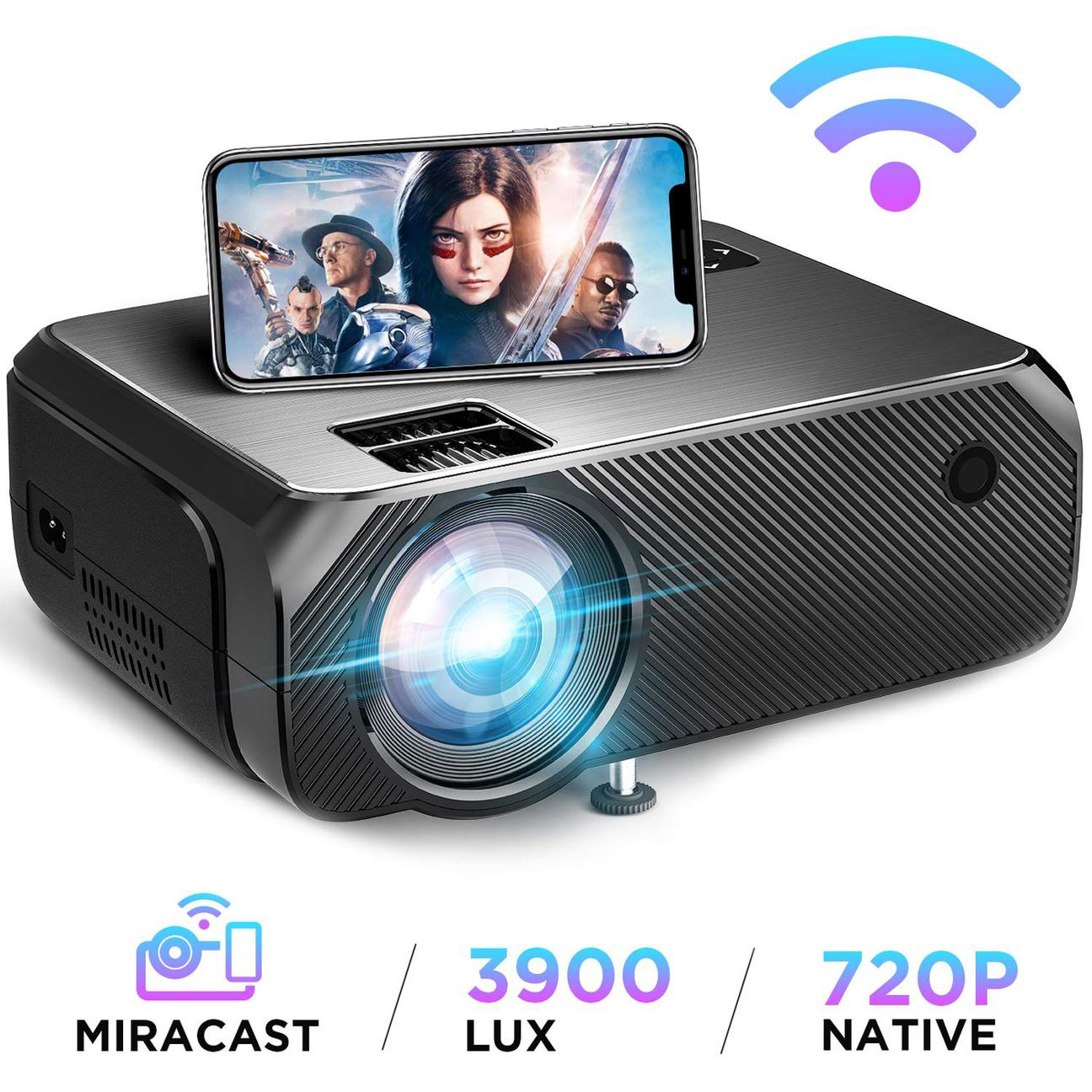 Hibeamer GC555 Mobile Phone Wireless Same Screen Home LED Projector HD 1080P Projector 3