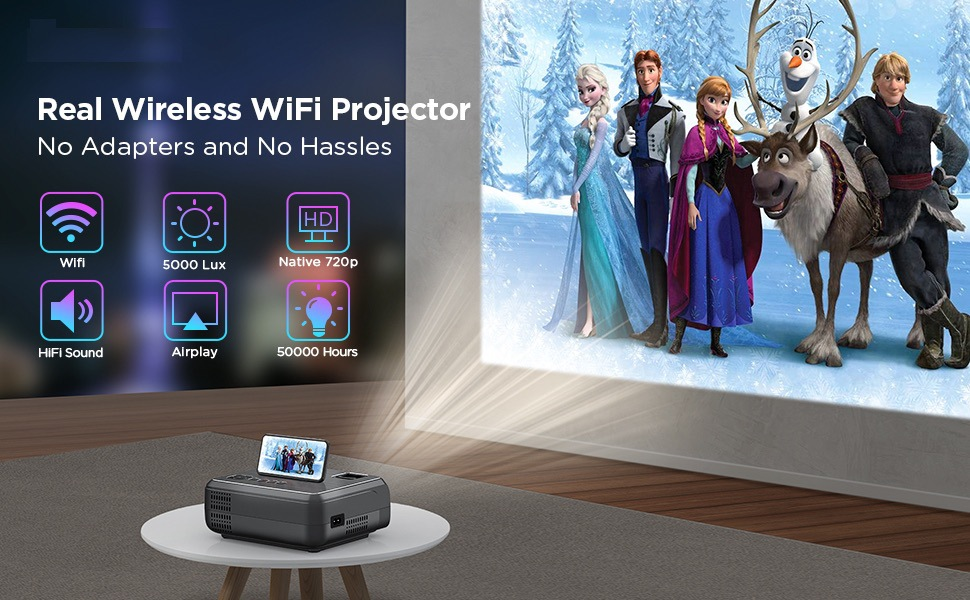Hibeamer GC555 Mobile Phone Wireless Same Screen Home LED Projector HD 1080P Projector 12