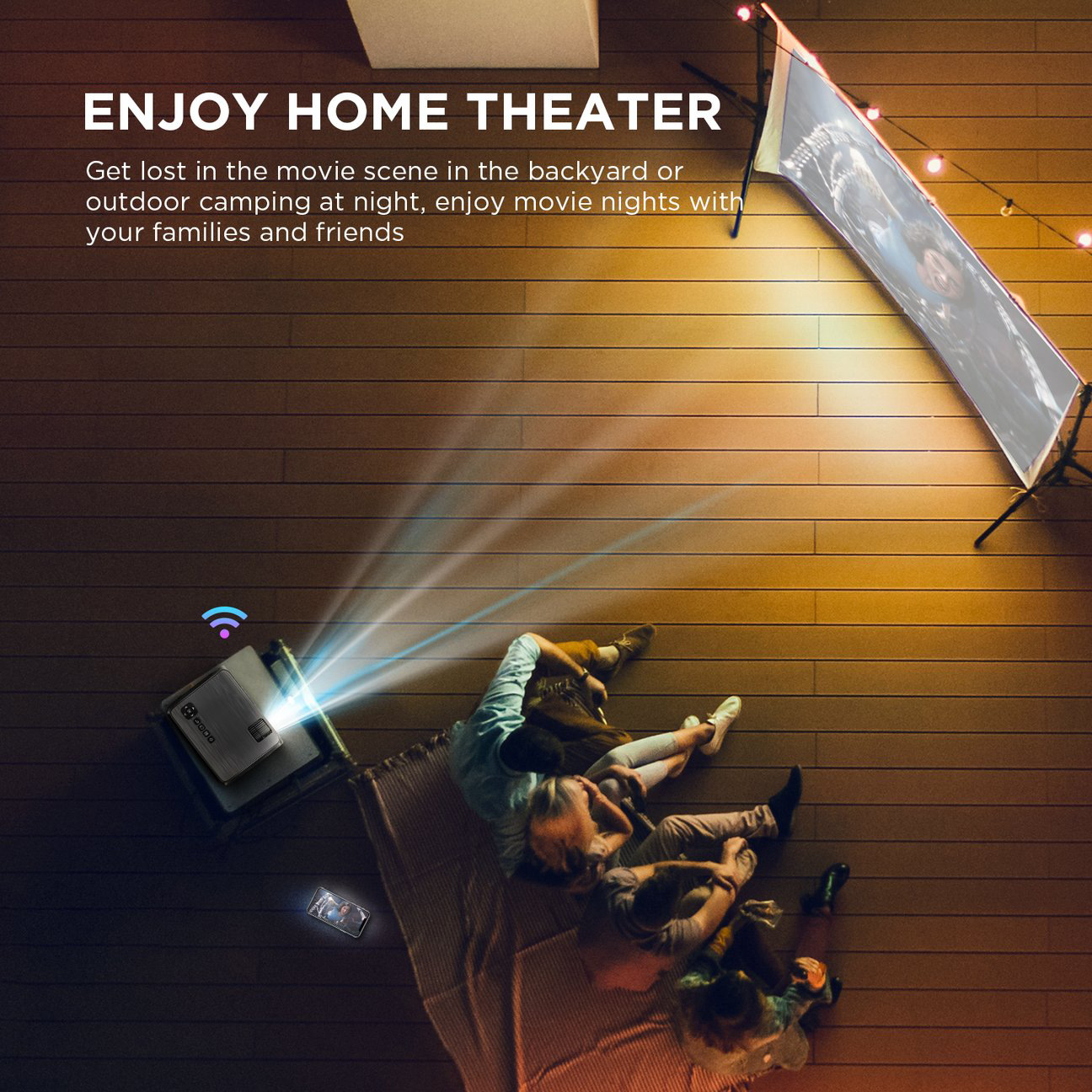 Hibeamer GC555 Mobile Phone Wireless Same Screen Home LED Projector HD 1080P Projector 1