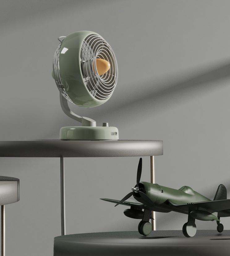 LOFREE Electric Fan Small Office Desktop USB Shaking Head Charging Silent Air Circulation Fan 1