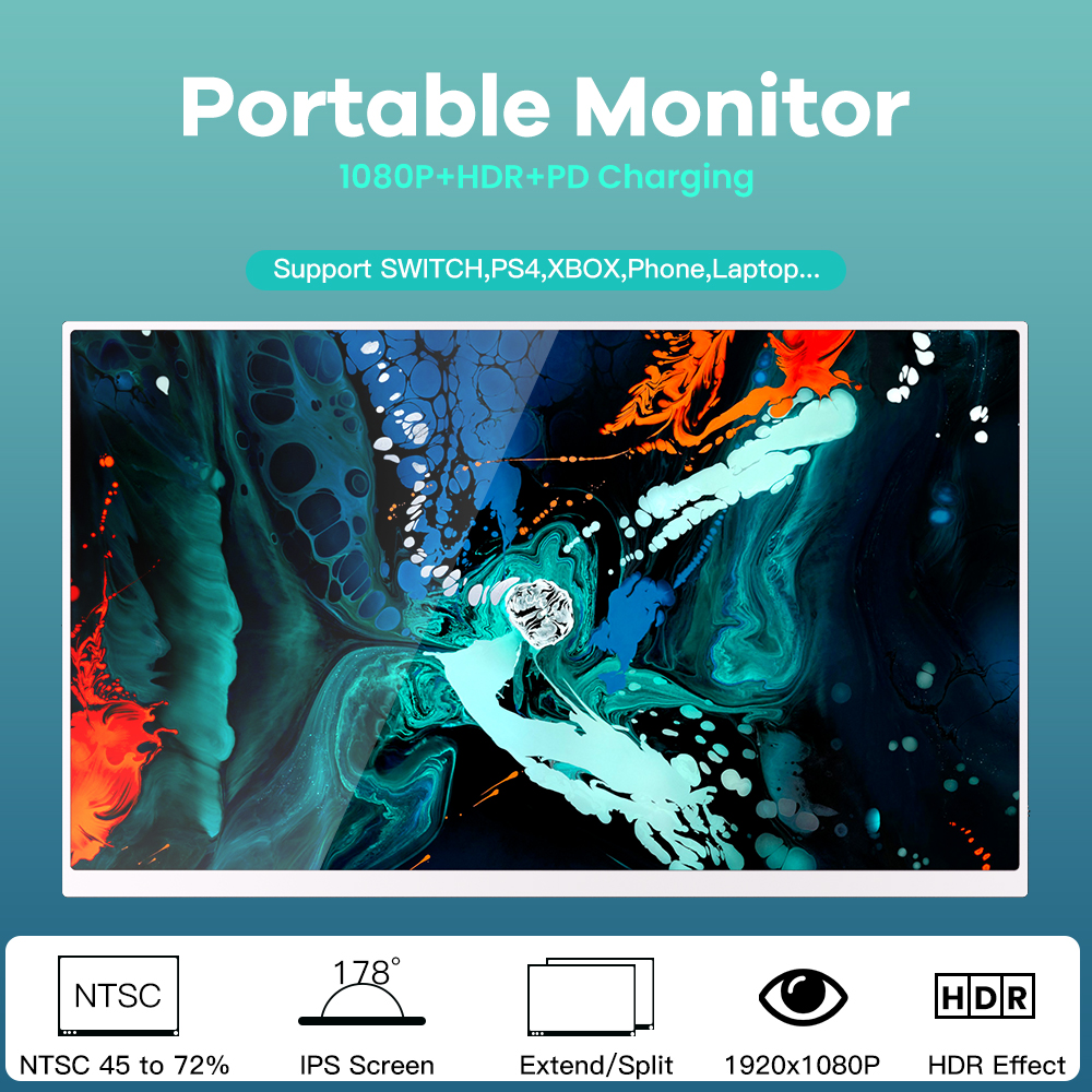 T16A Portable Monitor 15 Inch 1920*1080 72 Silver Color Gamut HDR With Leather Case Ultra-thin Metallic  0