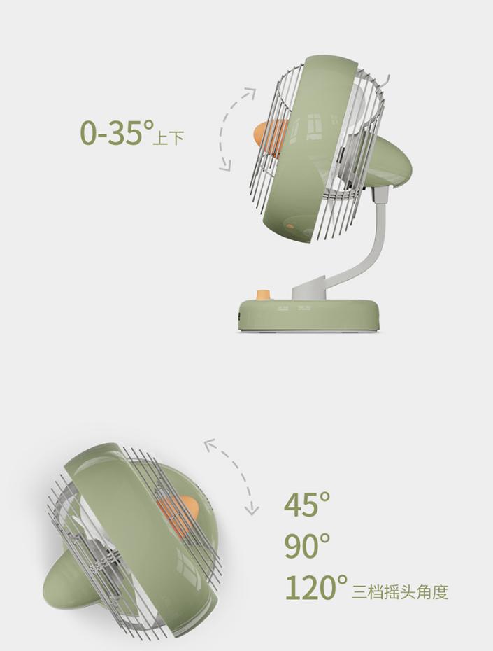 LOFREE Electric Fan Small Office Desktop USB Shaking Head Charging Silent Air Circulation Fan 8