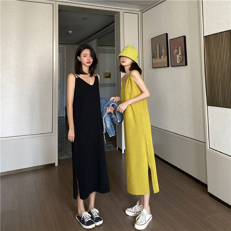 2020 New Sling Dress Large Size French Bellflower Skirt Age Reduction Thin Sweater For Ladies 1