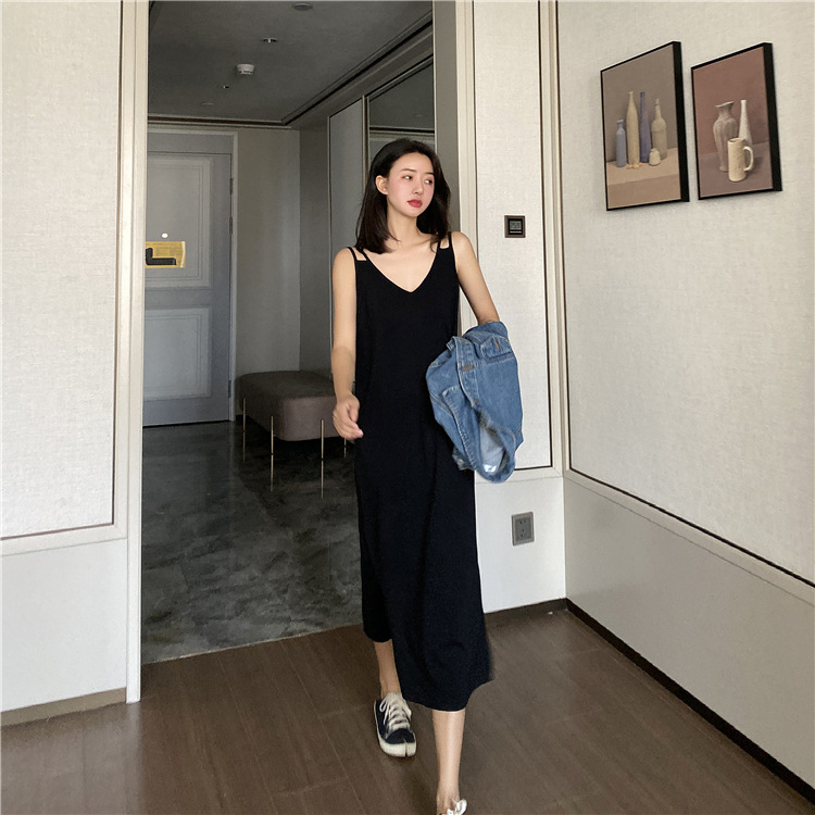 2020 New Sling Dress Large Size French Bellflower Skirt Age Reduction Thin Sweater For Ladies 7