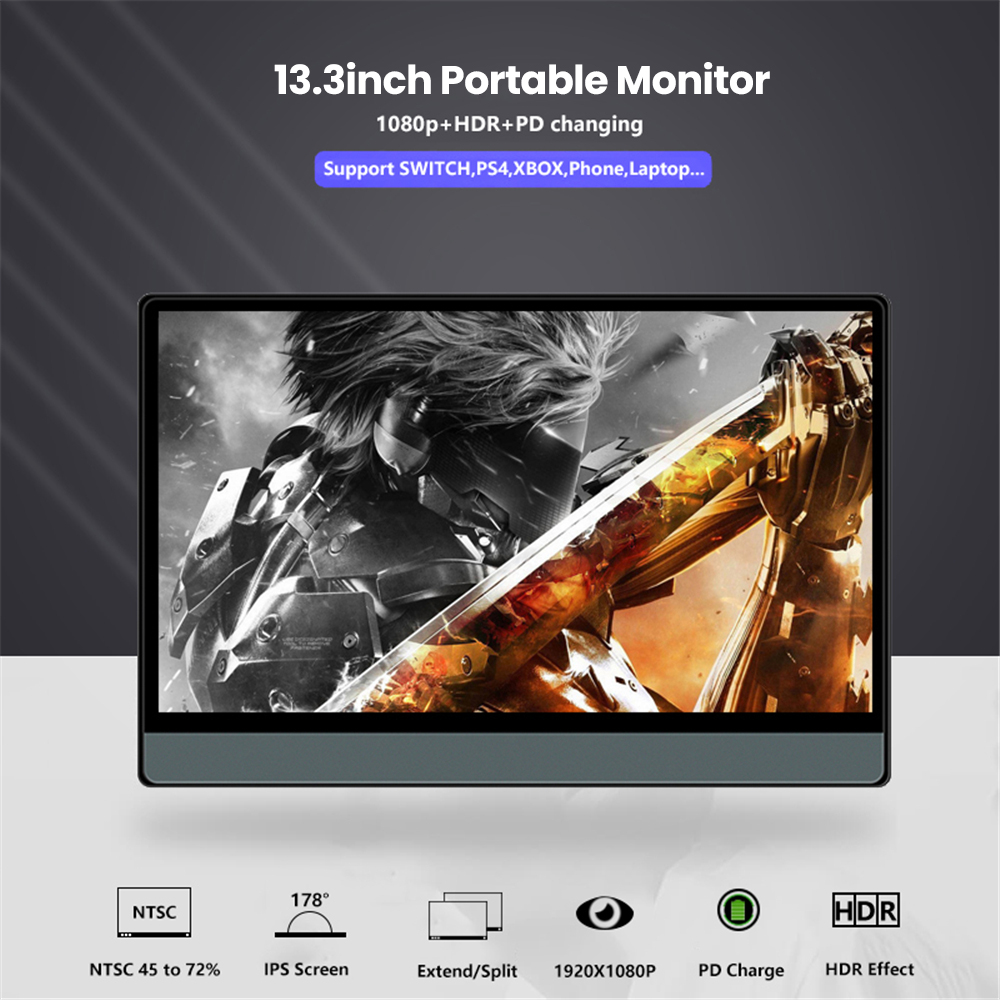 2020 New T13A Portable Display 13.3 Inch 1920*1080 1080P With Black Leather Case 4