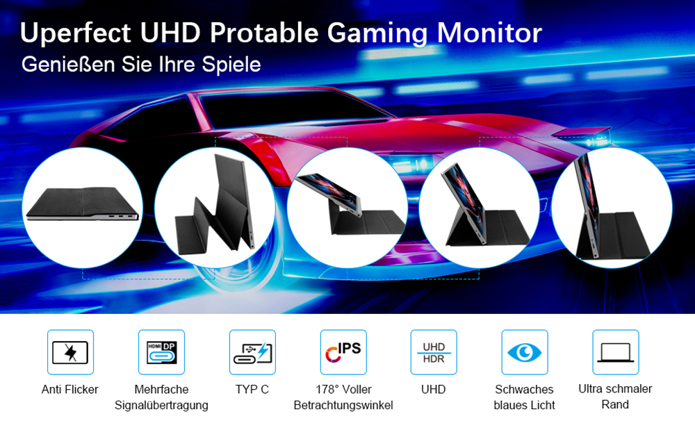 T15-4K Portable Monitor 15.6-inch 4K 3840*2160 IPS Metal Silver With Leather Case With High-performance And Intelligence  0