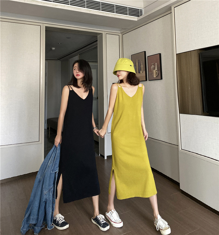 2020 New Sling Dress Large Size French Bellflower Skirt Age Reduction Thin Sweater For Ladies 2