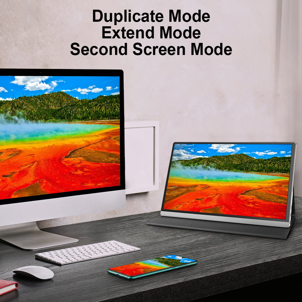 T15-4K Portable Monitor 15.6-inch 4K 3840*2160 IPS Metal Silver With Leather Case With High-performance And Intelligence  6