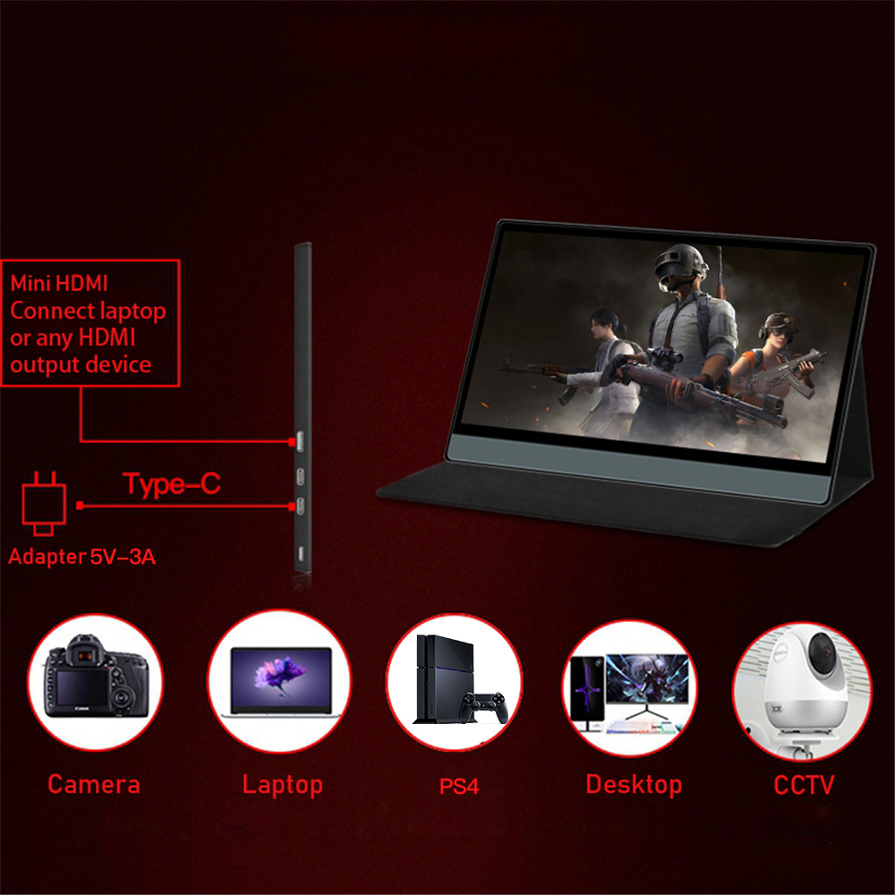 2020 New T13A Portable Display 13.3 Inch 1920*1080 1080P With Black Leather Case 5