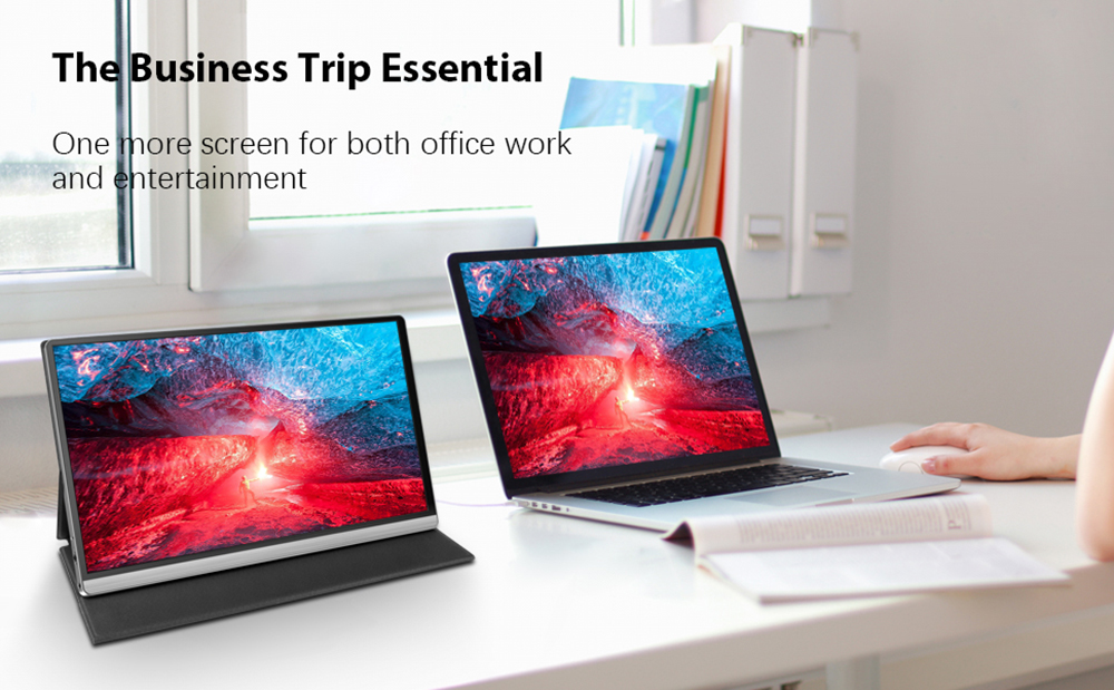 T15-4K Portable Monitor 15.6-inch 4K 3840*2160 IPS Metal Silver With Leather Case With High-performance And Intelligence  3