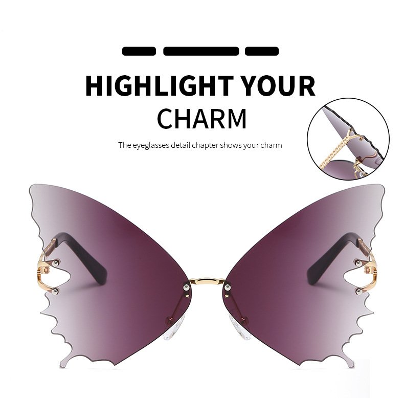 S2033 Butterfly Sunglasses Female Fashion Big Frame Gradient Color Sunglasses Trend Street Photography Sunglasses  3