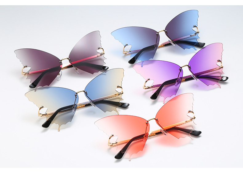 S2033 Butterfly Sunglasses Female Fashion Big Frame Gradient Color Sunglasses Trend Street Photography Sunglasses  11