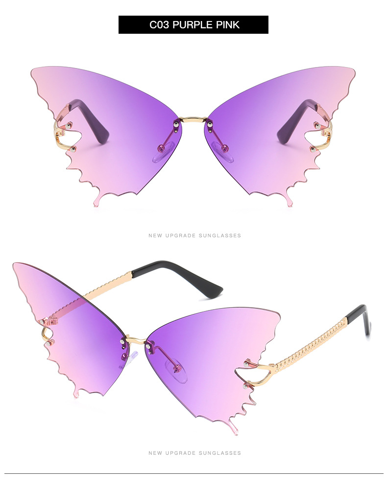 S2033 Butterfly Sunglasses Female Fashion Big Frame Gradient Color Sunglasses Trend Street Photography Sunglasses  8